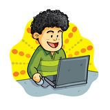 Boy Play Laptop Royalty Free Stock Images