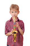 Boy play music on saxophone Stock Photos