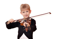 Boy play music on violin Royalty Free Stock Photos