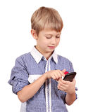 Boy play with phone Royalty Free Stock Image