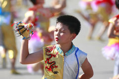 Boy play puppet show. A boy play puppet show and bend his brows owing to sun light at the national day in Taiwan on Oct. 10, 2008 Stock Photography