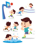 Boy play sport many action. Vector illusyrator of  children playing multiple sports and many actions Stock Photos