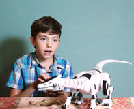 boy play  toy with remote control dragon Royalty Free Stock Photo