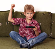 Boy play video game Royalty Free Stock Images