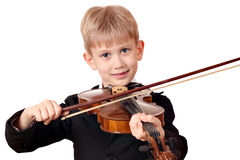 Boy play violin portrait Stock Photography