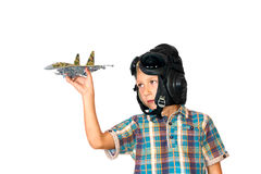 Boy Play With Jet Airplane Model Royalty Free Stock Photography