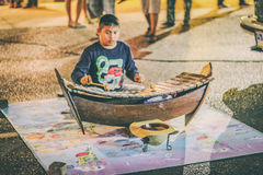 Boy played xylophone Royalty Free Stock Photos