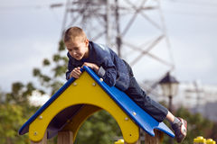 Boy on a playground Royalty Free Stock Images