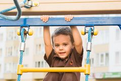 The boy on the playground Royalty Free Stock Photo