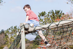 Boy Playground Climbing Netting Royalty Free Stock Photography