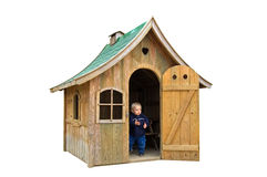 Boy in playground house royalty free stock photography