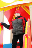 Boy in playhouse Royalty Free Stock Image