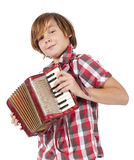 Boy playing accordion Royalty Free Stock Photography
