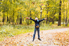 Boy playing in autumn park Royalty Free Stock Images