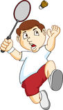 Boy playing badminton Royalty Free Stock Images