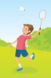 Boy playing badminton Royalty Free Stock Photos