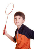 Boy playing badminton. Cute boy playing badminton isolated on white stock photo