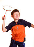 Boy playing badminton Royalty Free Stock Photo