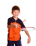 Boy playing badminton. Cute boy playing badminton isolated on white Royalty Free Stock Image