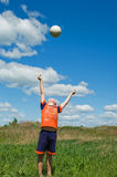 Boy playing with ball royalty free stock images