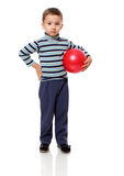Boy playing with ball. Little Boy playing with ball isolated on white Royalty Free Stock Photo