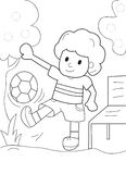 Boy playing with a ball coloring page Stock Images