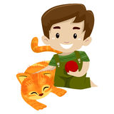 Boy Playing a Ball with his Cat Stock Photo