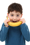 Boy Playing with Banana Royalty Free Stock Photo