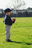 Boy playing baseball. Kid playing tee ball. He's wearing blue and gray uniform and look very concentrated on the game Royalty Free Stock Photos