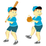 Boy Playing Baseball. Baseball player set of a freckled boy with a bat and mitt pitching ball royalty free illustration
