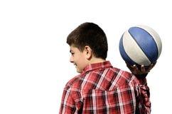 Boy playing basketball. Isolated. isolated white backgrounds Stock Photos