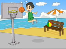 A boy playing basketball at the beach cartoon Stock Photo