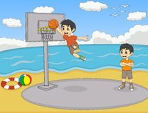 A boy playing basketball at the beach cartoon Stock Photos