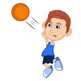 The boy playing basketball cartoon vector illustration Stock Images