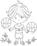 Boy playing basketball coloring page. Useful as coloring book for kids royalty free illustration