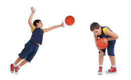 Boy playing basketball isolated. Different positions. From my sport series stock image