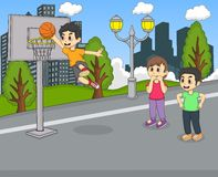 A boy playing basketball at the park cartoon Stock Photos