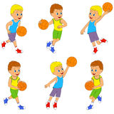 Boy playing basketball set. Illustration, vector stock illustration