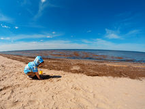 Boy playing at the beach . Royalty Free Stock Photography