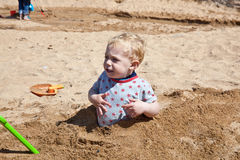 Boy playing on beach Royalty Free Stock Photo