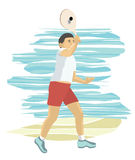 Boy playing beach paddle tennis Stock Images