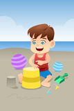 Boy playing in the beach Royalty Free Stock Photos