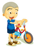 A boy playing bicycle Stock Image