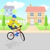 Boy Playing Bicycle Around Neighborhood Stock Images