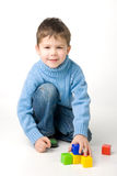 Boy playing with blocks Royalty Free Stock Photography