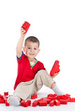 Boy playing with blocks Stock Photo