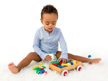 Boy playing with blocks Royalty Free Stock Image