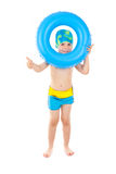 Boy playing with blue life ring. Funny little boy playing with blue life ring in swim caps, isolated in white Royalty Free Stock Photo