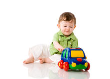 Boy playing car Royalty Free Stock Image