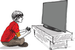Boy playing computer game. Made in adobe illustrator Stock Photo